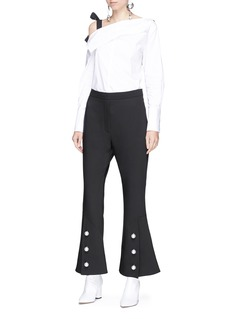 Ellery 'Fourth Element' faux pearl cuff flared suiting pants