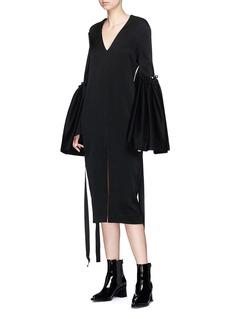 ELLERY Adage人造珍珠双层喇叭袖V领连衣裙