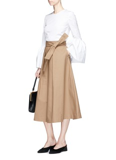 Co Belted high waist A-line midi skirt