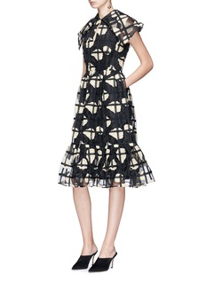 Co Floral check crochet organdy dress