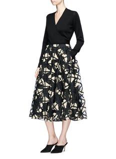Co Floral check crochet organdy high waist A-line skirt