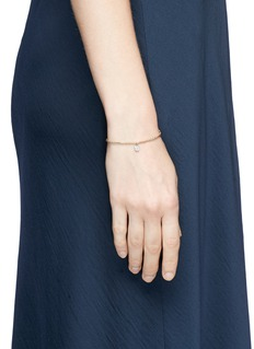 SYDNEY EVAN Diamond 14k white gold disc charm bead elastic bracelet
