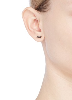 SYDNEY EVAN Diamond rhodium 14k rose gold arrow single stud earring