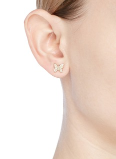 SYDNEY EVAN Diamond 14k yellow gold small butterfly single stud earring