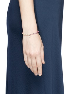 SYDNEY EVAN Diamond 14k yellow gold padlock charm gemstone bead elastic bracelet