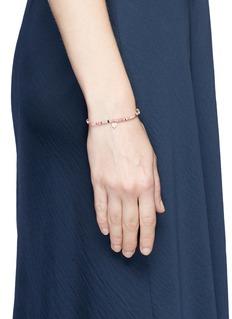 SYDNEY EVAN Diamond 14k rose gold heart charm gemstone bead elastic bracelet