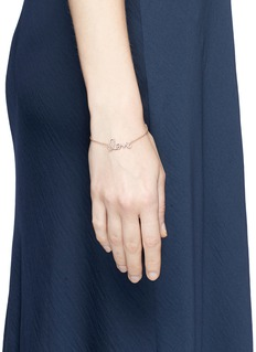 SYDNEY EVAN 'Love' diamond 14k rose gold medium script charm bracelet
