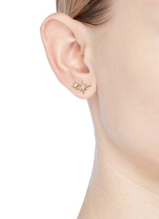 SYDNEY EVAN 'Double Starburst' diamond 14k yellow gold single stud earring