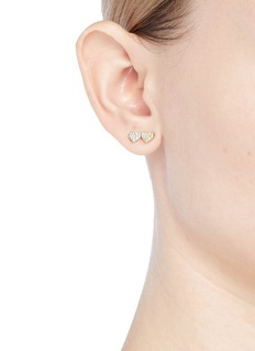 SYDNEY EVAN 'Double Heart' diamond 14k gold single stud earring