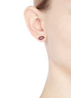 SYDNEY EVAN Ruby 14k rose gold lips single stud earring