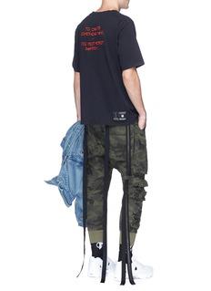 Ben Taverniti Unravel Project  Camouflage print drop crotch canvas cargo pants