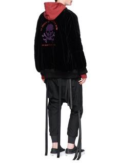 Ben Taverniti Unravel Project  Skull embroidered oversized velvet souvenir jacket