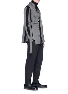 Damir Doma 'Saki' velvet trim stripe twill wrap kimono shirt