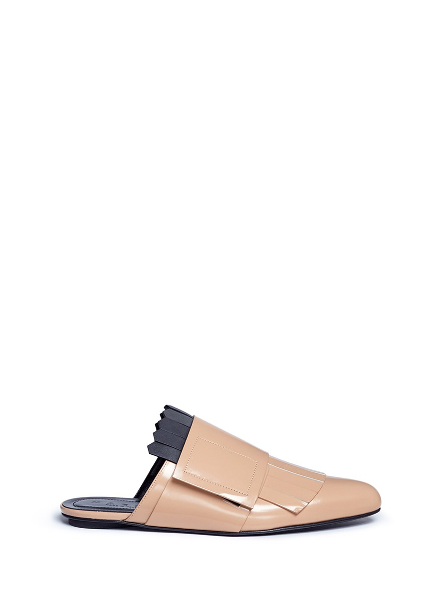 Kiltie spazzolato leather mules