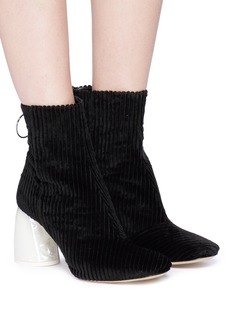 Ellery Pearlescent marble effect heel velvet ankle boots