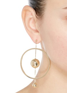 Michelle Campbell 'Dual Orbit' 14k gold plated beaded bar hoop earrings