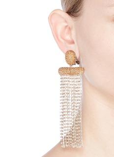 Oscar de la RentaLong beaded strass waterfall tassel clip earrings