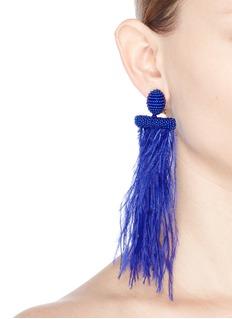 Oscar de la Renta Feather tassel drop clip earrings