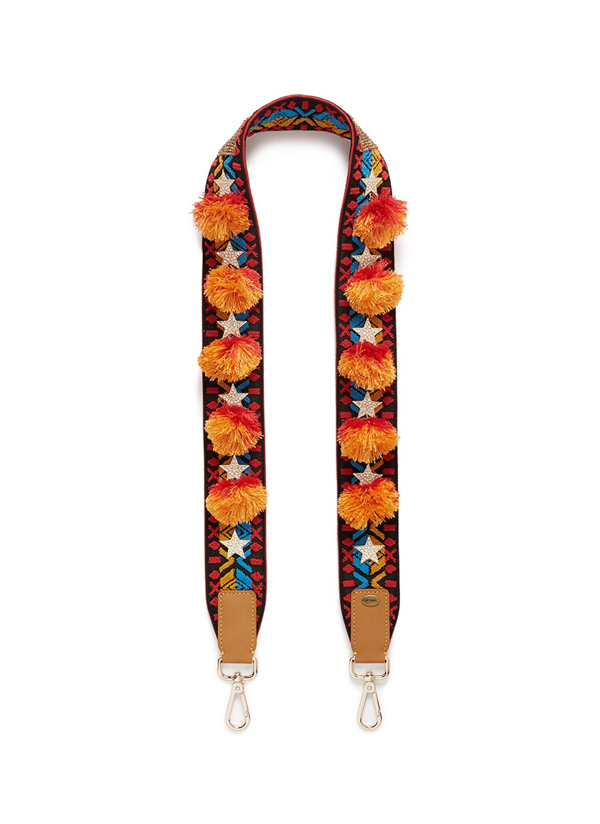 VENNA Cubic zirconia star pompom ethnic motif guitar strap