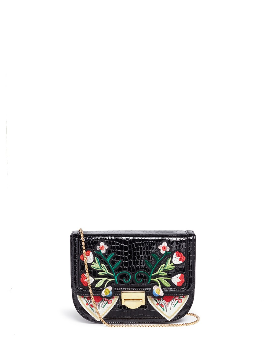 VENNA Floral and heart patch croc embossed leather bag