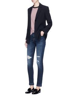 J Brand '811' letout cuff ripped skinny jeans