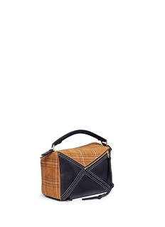 Loewe 'Puzzle' check plaid suede panel leather bag
