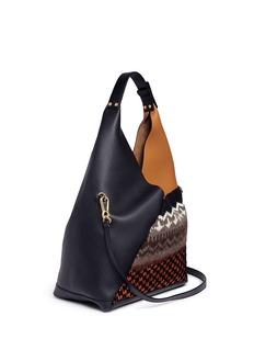 Loewe 'Sling' colourblock knit panel shoulder leather bag