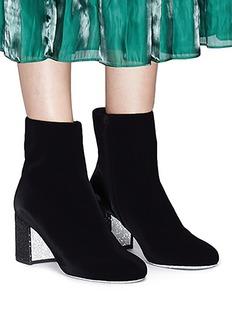René Caovilla Strass pavé heel velvet ankle boots
