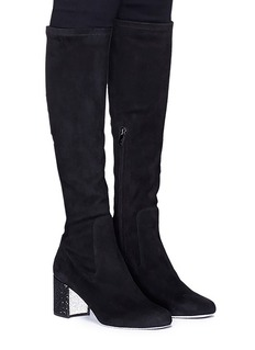 René Caovilla Strass heel suede knee high sock boots