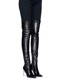 René Caovilla Strass trim over-the-knee leather sock boots