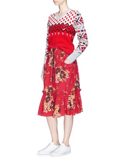 Coach Floral print ruffle peplum midi skirt