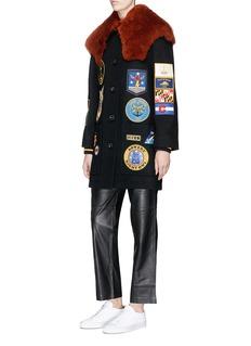 Coach Detachable shearling collar military patch melton coat