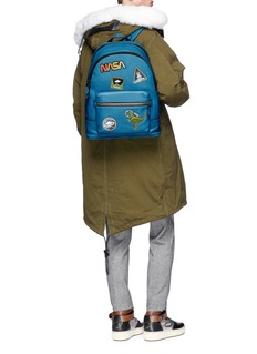 Coach 'League' space patch glovetanned leather backpack