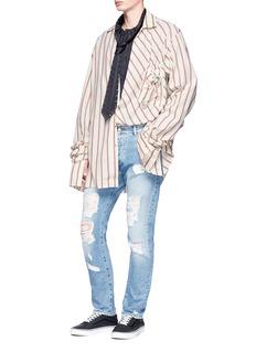 R.shemiste Button back yoke stripe oversized shirt