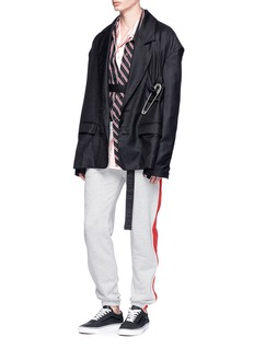 R.shemiste Safety pin oversized wool soft blazer