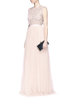 Needle & Thread 'Jet Frill' embellished sleeveless gown