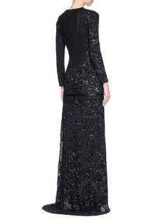 Needle & Thread 'Midnight' sequinned beaded crepe gown