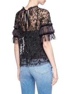 Needle & Thread 'Constellation' peplum sleeve embellished mesh top