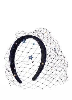 Piers AtkinsonStar sequin veil velvet headband