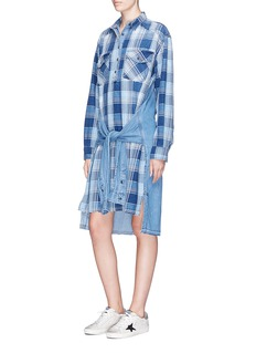 Current/Elliott 'The Twist' sleeve tie check plaid denim and chambray dress