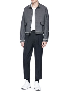Pronounce Frayed stand collar wool suiting jacket