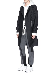Pronounce Abstract stitch wool twill coat