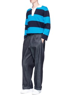 Sunnei Stripe long sleeve knit polo shirt