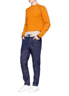 FFIXXED STUDIOS Knit drawstring waist raw jeans
