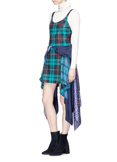 Esteban Cortazar 'Scarf' mixed print satin sash drape denim dress