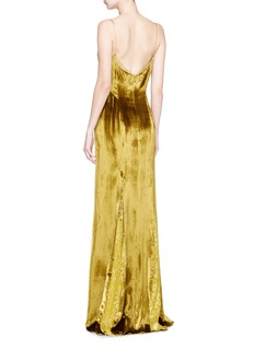 Galvan London Guipure lace godet velvet gown