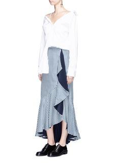 Hellessy 'Daffodil' ruffle stripe silk twill midi skirt