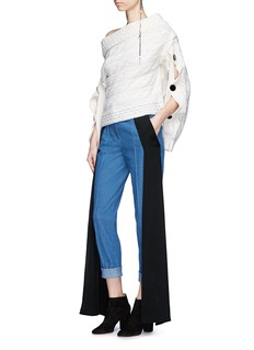 Hellessy 'Dorian' one-shoulder button sleeve cable knit sweater