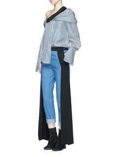 Hellessy 'Smith' satin sash panel cropped denim pants