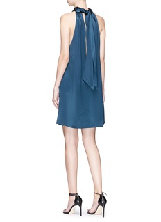 Galvan London Cutout back halterneck silk satin dress